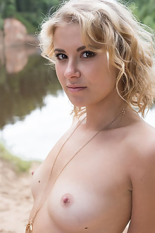 Casey in Estora by Tora Ness outdoor blonde brown eyes shaved pussy river custom latest