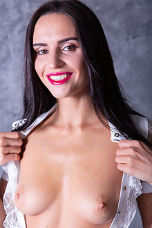 Leyla in Evening Makeup by Thierry Murrell indoor brunette black hair trimmed pussy