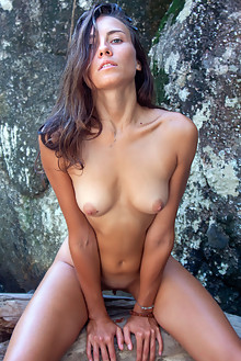 Regina C in Regina C by Angela Linin outdoor sunny brunette tanned shaved
