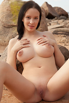 Agatha in Fiya by Koenart outdoor beach brunette black hair brown eyes boobies busty shaved ass pussy latest