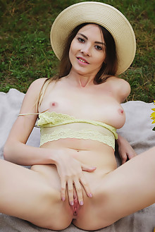 Kira in In Limone by Flora outdoor woods brunette brown eyes boobies shaved pussy latest