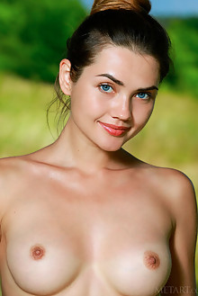Georgia in Renoa by Matiss outdoor sunny woods brunette blue eyes boobies shaved ass pussy hips custom latest