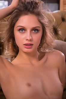 Clarice in Recline by Nudero indoor blonde blue eyes petite small tits shaved pussy custom