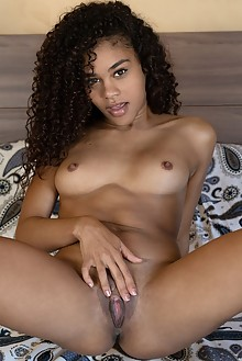 Scarlit Scandal in Curly Wet Dream by Don Caravaggio indoor ebony petite shaved pussy fingering