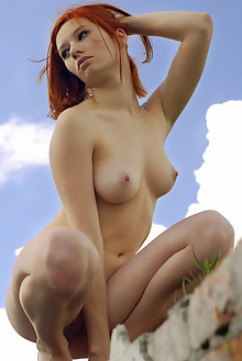 Elis B in Blue Sky by Stanislav Borovec outdoor sunny redhead boobies shaved