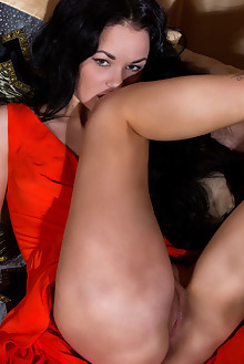 Josephine in Empress by Dana Lenko indoor brunette black hair hazel eyes shaved ass pussy fingering latest