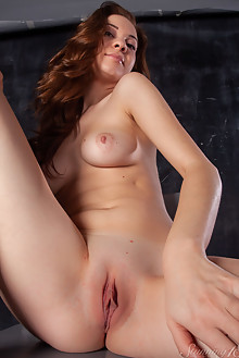 Carmencita G in Sexy Thong by Thierry Murrell indoor redhead blue eyes shaved pussy boobies ass