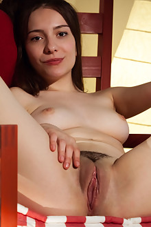 Presenting Maxima by Albert Varin indoor brunette brown eyes trimmed hairy pussy