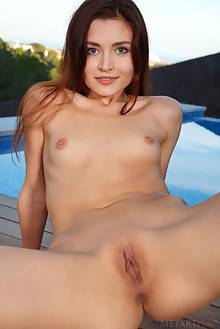Berenice in Sanora by Luca Helios outdoor sunny redhead blue eyes poolside small tits shaved pussy custom