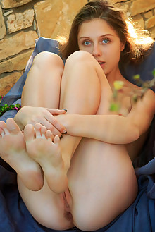 Clarice in Lemasga by Rylsky outdoor brunette blue eyes petite shaved pussy ass hips