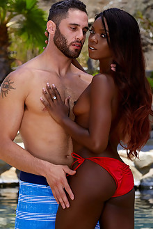 Ana Foxxx and Damon Dice in Wet Hot Summer by Holly Randall outdoor sunny pool ebony brunette brown eyes suck blowjob fuck shaved pussy ass latest