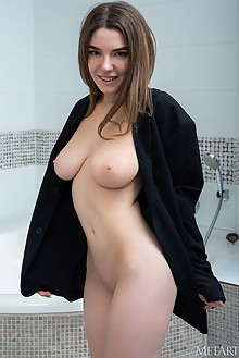 Kiere in Suit Up by Tora Ness indoor brunette blue eyes boobies busty shaved custom