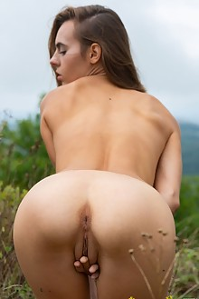 Gracie in Before The Rain by Marlene outdoor brunette hazel eyes shaved ass