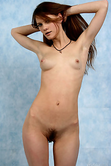 Ashanti A in Baby Blue by Ron Offlin indoor brunette blue eyes hairy unshaven pussy latest