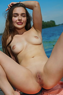 Monica Trent in Lakeside View by Leonardo outdoor sunny brunette brown eyes boobies shaved pussy river custom