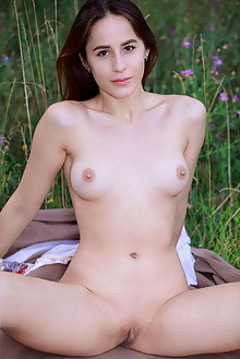 Annamalia in Glance Back by Matiss outdoor sunny brunette brown eyes boobies shaved pussy custom