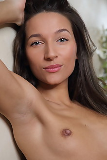 Kenya in Casual Morning by Leonardo indoor brunette green eyes small tits shaved pussy labia ass