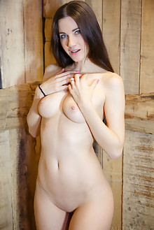 Lauren Crist in Giolet by DeltaGamma indoor brunette blue eyes boobies shaved pussy tight cabin hay custom latest