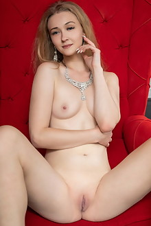 Clara in Red Throne by Tora Ness indoor blonde blue eyes shaved pussy custom
