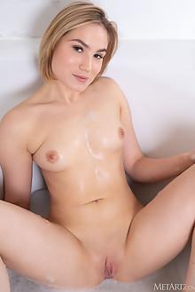 Lilly Mai in Cherry Bottom by Koenart indoor blonde blue eye...