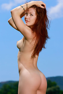 Callista Simon in Sky Blue by Matiss outdoor sunny redhead b...