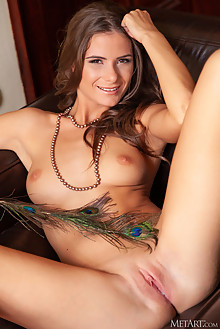 Csilla in Peacock Feather by DeltaGamma indoor brunette brown eyes shaved pussy custom