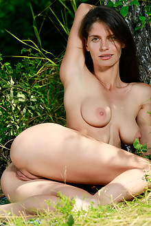 Yasmina in Bootylicious by Matiss outdoor woods sunny brunette green eyes boobies shaved