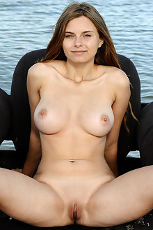 Yuki in Arety by Fabrice outdoor beach brunette blue eyes boobies busty shaved pussy custom latest