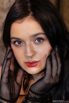Presenting Anthea by Albert Varin indoor brunette black hair brown eyes shaved pussy ass custom