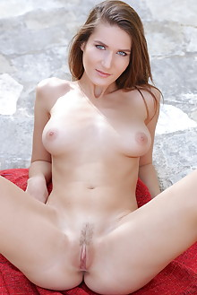 Elina in Lerja by Dave Lee outdoor brunette blue eyes boobies shaved tight pussy pinky custom latest
