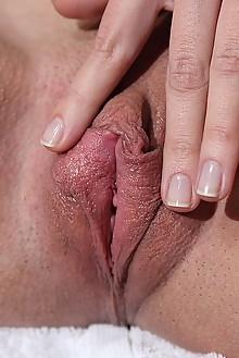 Mirabella in Erotic Bath by Blake Jasper indoor brunette brown eyes shaved pussy labia fingering
