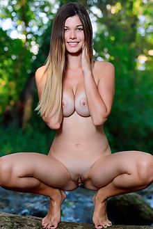 Stefania Beatty in Natures Own by Matiss outdoor woods sunny brunette brown eyes boobies shaved pussy river