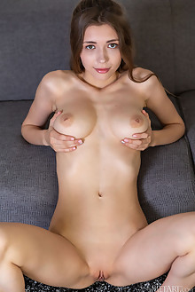 Mila Azul in Green Dress by DeltaGamma indoor brunette green eyes boobies busty shaved pussy ass custom