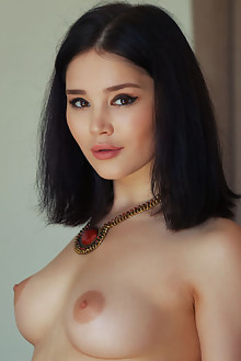 Malena in Shawl by Arkisi indoor brunette black hair brown eyes boobies shaved pussy tight custom