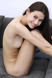 Cristin in Sensual Sofa by Dave Lee indoor brunette brown eyes shaved pussy