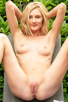 Gerda Rubia in Silver by DeltaGamma outdoor sunny blonde blue eyes shaved pussy