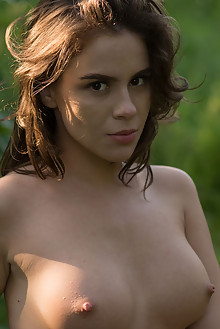 Leda in Leda by Stan Macias outdoor woods sunny brunette brown eyes boobies
