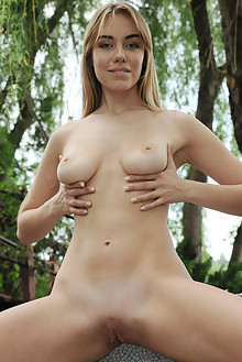 Ryana in Park by Fabrice outdoor woods blonde green eyes boobies shaved