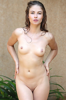 Hilary C in Askia by Dave Lee outdoor brunette green eyes shaved wet pussy labia ass