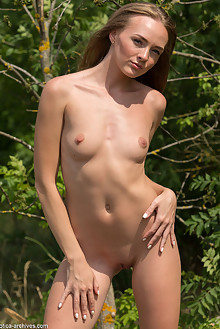 Andrea Sixth in Andrea Sixth by Marlene outdoor sunny woods blonde shaved ass pussy