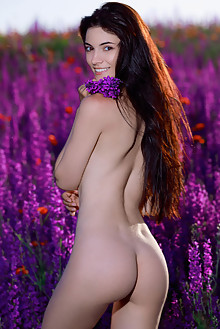 Aleksandrina in Spring Vibes by Matiss outdoor sunny brunette black hair brown eyes shaved ass