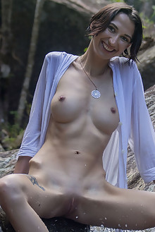 Alisa M in In The Wild Alisa M by Angela Linin outdoor woods river brunette wet shaved