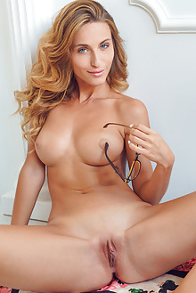 Cara Mell in Komlyn by Alex Lynn indoor blonde blue eyes boo...
