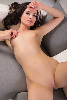Rada in My Library by Nudero indoor brunette brown eyes shaved pussy