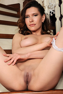Suzanna A in Garter by Fabrice indoor brunette green eyes bo...