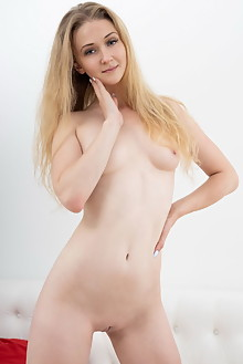 Clara in Melon by Tora Ness indoor blonde blue eyes shaved p...