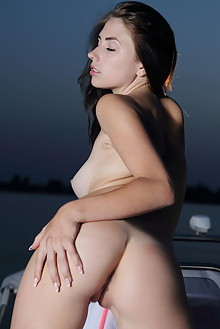 Niemira in Pladan by Leonardo outdoor sunset boat brunette black hair blue eyes boobies tanned shaved tight ass pussy latest