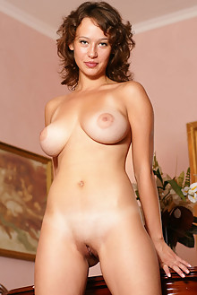 Veronika I in Endowed by Egon Schneider indoor brunette green eyes boobies busty puffy nipples shaved ass pussy tanned