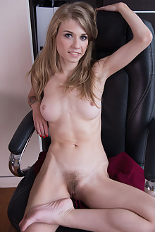 Presenting Eva Gold by Stan Macias indoor blonde hairy unshaven pussy