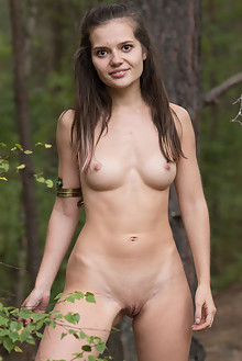 Pola in In The Forest by Stan Macias outdoor woods brunette shaved